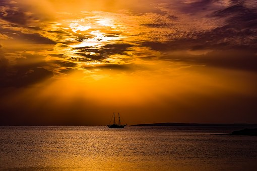 Sunset, Horizon, Sea, Silhouette, Ship, Boat, Sparkling