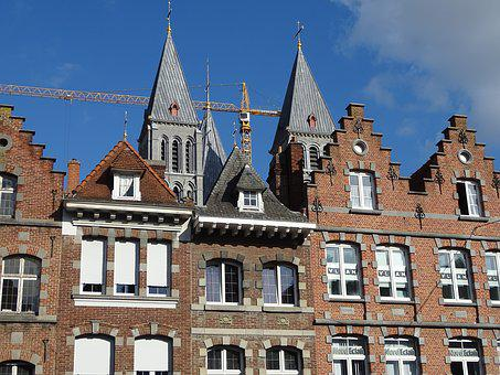 Tournai, Large Square, Cathedral, Houses, Facade, City