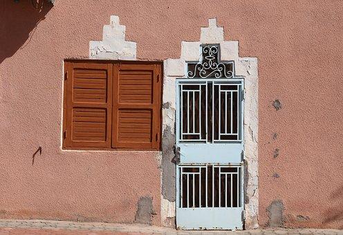 Morocco, Essaouira, Door, Window, Stone, Entry, Exit