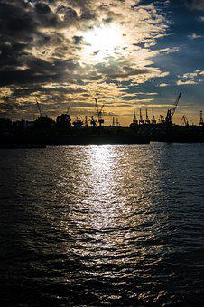 Sunset, Container Cranes, River, Harbour Cranes, Water