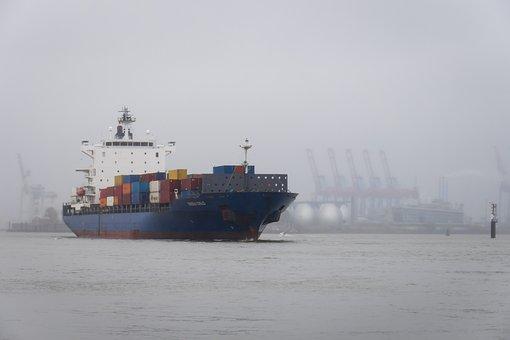 Container Ship, Ship, Port, Hazy, Haze, Elbe, Maritime