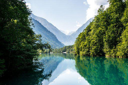 Mountains, Scenic, Reflection, Waters, Idyll, Landscape