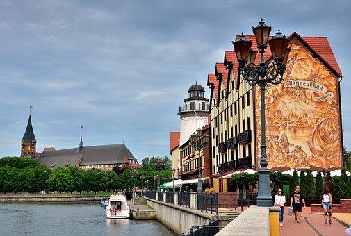City, Kaliningrad, Quay, River, Architecture, Bridge