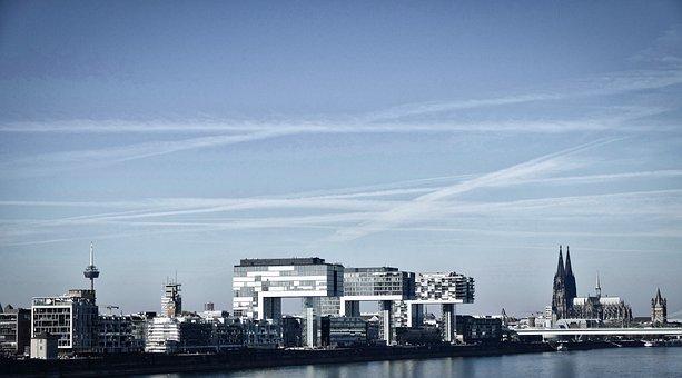 Cologne, Panorama, Dom, Kranhaus, Architecture, Rhine