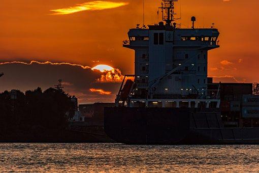 Port, Hamburg, Elbe, Water, Sky, Maritime, Architecture