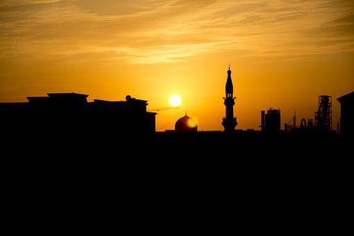 Sunset, Mosque, Black, Orange, Sun Setting