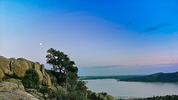 Sunset, Pedriza, Sky, Panoramic, Mountain, Reservoir
