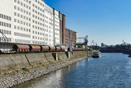 Port, Pool, Envelope, Unloading, Boats, Rhine, Goods