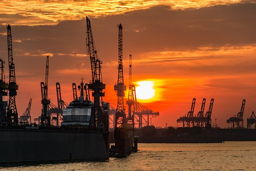 Hamburg, Port, Elbe, Water, Sky, Maritime, Architecture