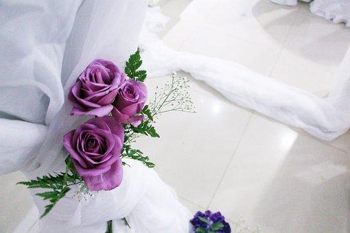 Rosa, Wedding, White, Purple, Flower, Background, Love