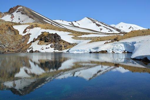 Mountains, New Zealand, Reflections, Lake, Tongariro
