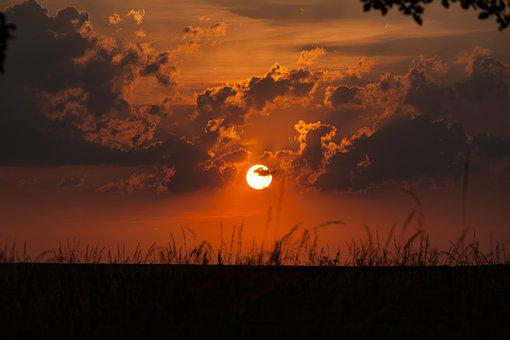 Sunset, Red Sun, Sun, Sky, Orange, Nature, Mood