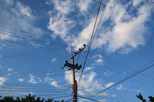Electricity Post, Sky, The Air, Wiring, Cable