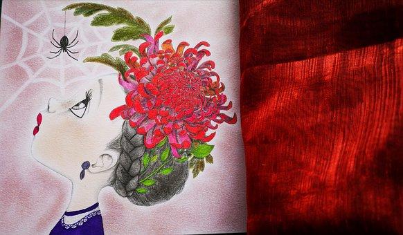 Girl, Drawing, Spider, Cobweb, Creativity, Kids, Color