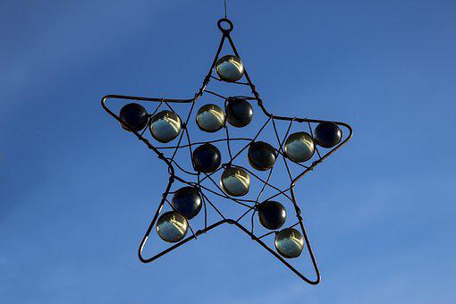 Star, Wire Star, Sky, Glaskugeln, Green, Dark Blue