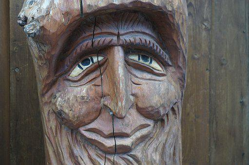 Eyes, Head, Wood, Statue, Close Up, Face, View, Nose