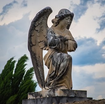 Angel, Religious, Mourning, Cemetery, Statue, Marble