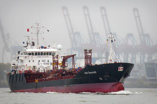 Tanker, Ship, Port, Hazy, Haze, Elbe, Maritime