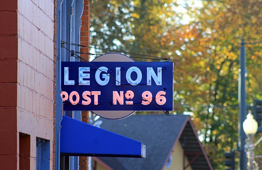 Building, Legion, Hall, Sign, Trees, Streetlight
