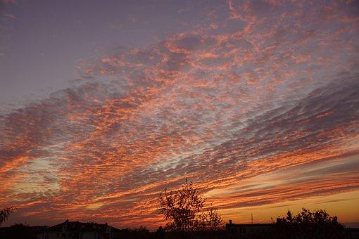 West, The Sun, Sky, Clouds, Twilight, Landscape, Red