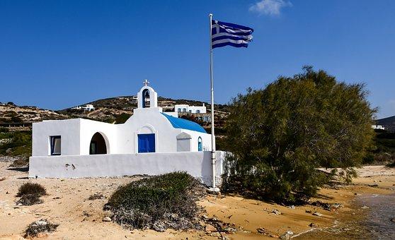 Church, Beach, White, Blue, Sea, Wind, Antiparos, Paros