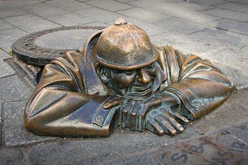 Bratislava, Channel, Slovakia, Bronze, Funny, Man