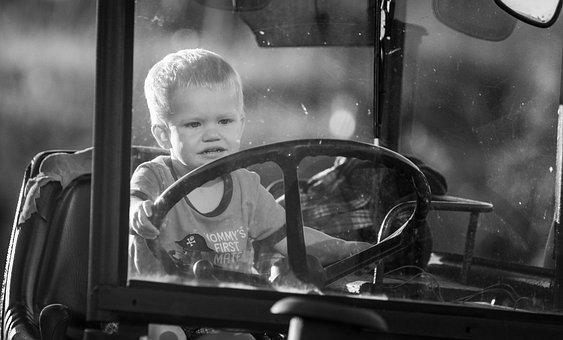 Boy, Tractor, Fun, Child, Happy, Children, Happiness
