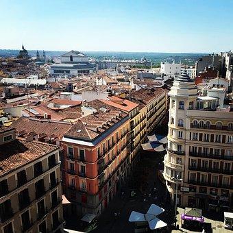 Madrid, City, Spain, Street, Building, Urban, Top View