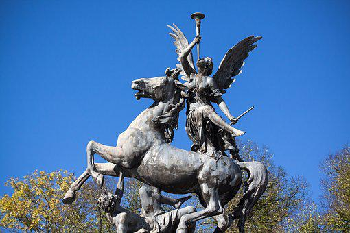 Fama, Pegasus, Figure, Fame, Trombone, Sculpture, Horse
