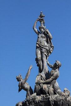 Fortuna, Wheel Of Fortune, Figure, Sea God, Triton