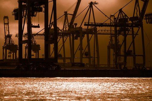 Container Cranes, Docks, Gloomy, Weird, Threatening