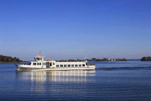 Lake, Chiemsee, Ferry, Ladies Island, Water, Bavaria