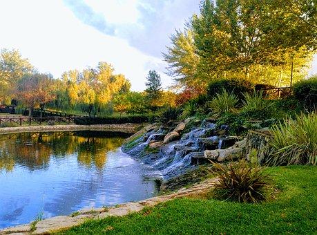 Nature, Waterfall, Lake, Brook
