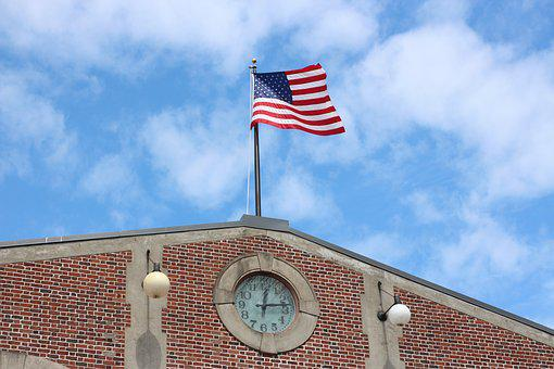 American Flag, Clocktower, Clock Tower, Clock, Landmark