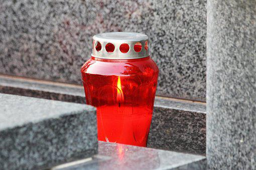 Red Candle, Lantern, Flame, Grave, Cemetery, Condolence