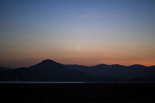 Sunset, Magic Hour, Moon, Mountain, Sea