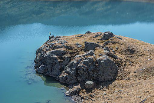 Lake, Mountain, Man, Only, Water, Landscape, Mountains