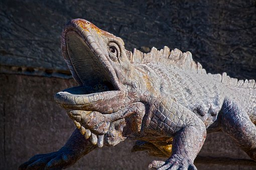 Iguana, Manneken, Lizard, Metal, Figure, Dragon