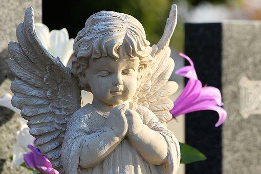 Angel Praying, Sculpture, Statue, Monument