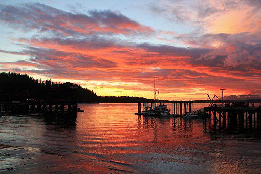 Harbour, Sunset, Ocean