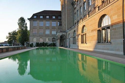 University, Pond, Fountain, Zurich, Architecture