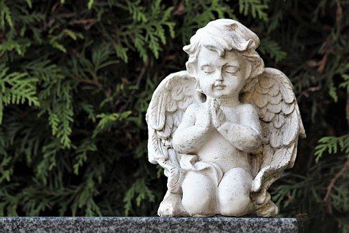 White Angel, Praying, Statue, Sculpture, Spirituality