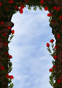 Fantasy, Archway, Roses, Clouds, Sky, Ranke, Copy Space