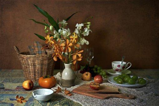 Still Life, Flower, Basket, Fruits, Art, Table, Vintage
