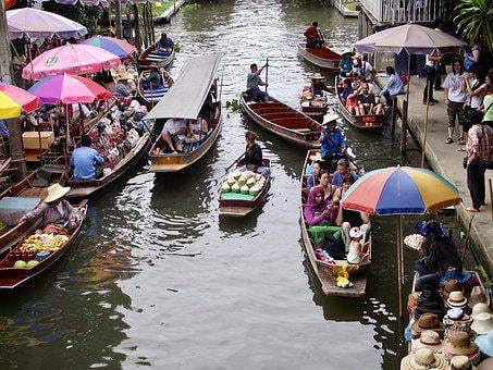 Thailand, Floating Market, Boats, Water, River, Food