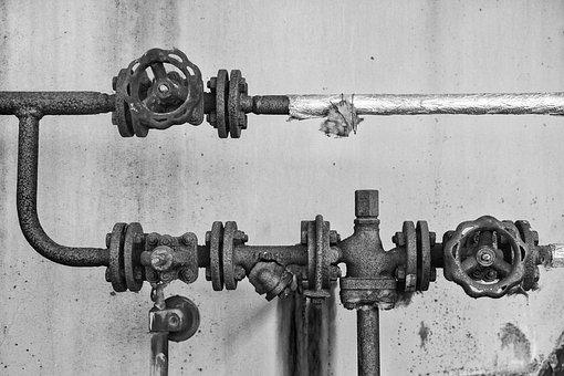 Pipes, Old, Ailing, Rusty, Black White, Factory