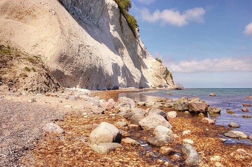 White Cliffs, Món, Denmark, Baltic Sea, Rock, Blue, Sky