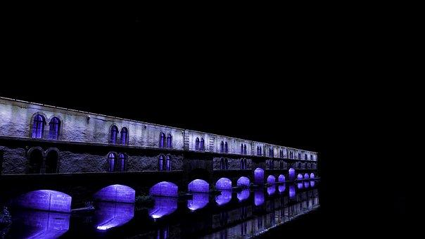 Strasbourg, Vauban, Dam, Night, Bridge, Arches, City