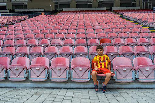 Boy, Sitting, Stands, Stadium, Child, Football