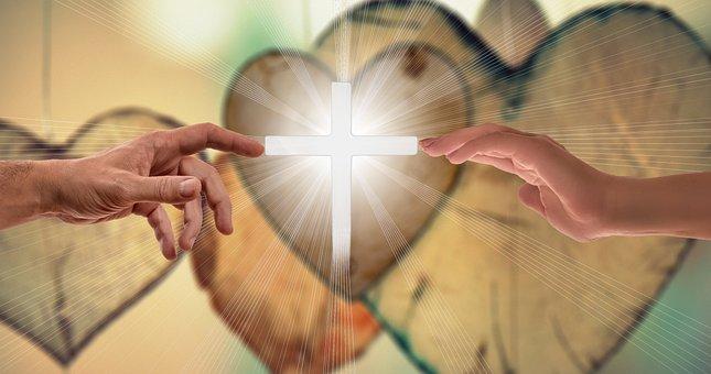 Faith, Love Hope, Cross, Hands, Contact, Close, Rays